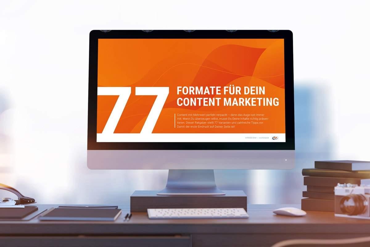 """Mockup-Vorschaubild zum Gratis-Ratgeber """"77 Formate für Dein Content Marketing"""""""